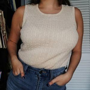 Jeanne Pierre Cream Medium Sweater Vest
